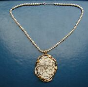 Natural Pearl Shell Cameo Untreated Necklace Certificate 19th