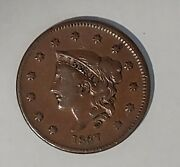 1837 Us Liberty Coronet Large Penny Semi-key Date One Cent Us Currency 50421e