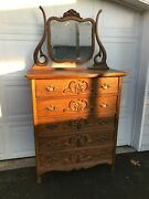 Antique Oak Tall Dresser With Shapely Beveled Swivel Mirror Excellent - Read