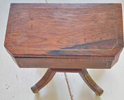 Antique English Miniature Card Game Table Handmade Rosewood And Inlaid Brass Ww521