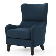 Noble House Accent Chair 27 In. W X 39 In. H Solid Pattern Polyester Navy Blue
