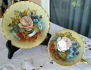 Aynsley Tea Cup And Saucer Both Signed J A Bailey England Cabbage Roses Gold Cup