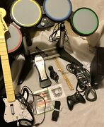 Xbox 360 Rock Band Bundle Drums Guitars Microphone Games + Console/controller