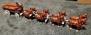 Vintage Cast Iron Budweiser Beer Wagon Clydesdale Horses Kegs 1 Drivers And Doggie