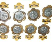 9 Saucers/coasters Thai Wood And Nickle Carving With Elephant Patterns Size 3.7