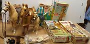 Marx 1960's Lot 5 12 Figures And 3 Horses Josie West Knight Geronimo Chief Wboxes