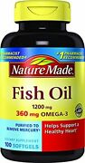 Nature Made Fish Oil 1200 Mg W. Omega-3 360 Mg Softgels 100 Count Pack Of 1