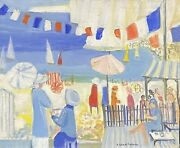 Ginet-lasnier 1927-2020 Signed French Oil - Very Busy Beach Scene With Figures