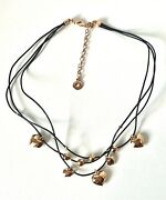 Danish Designer Pilgrim - Rose Gold Plated Heart Charm And Leather Necklace