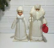 Soviet Vintage Pair Of Santa Claus And The Snow Maiden, Antique Christmas Doll