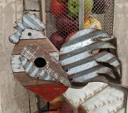 Rusty Corrugated Metal And Wood Rooster Bird House/feedercountry Farm Garden Yard