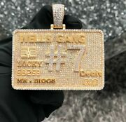 1.95 Ct Men's Customized Number Name Card Pendant In 14k Yellow Gold Plated