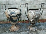 Large Antique Cast Iron Kramer Urns Associated Pair Planters Shipping Possible