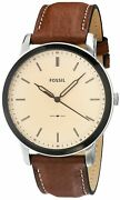Fossil Minimalist Three-hand Watch Fs5619 Silver Brown Leather One Size
