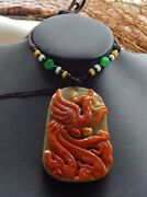 Certified Red Green Natural A Jade Jadeite Pendant Phoenix Necklace 凤凰 518629
