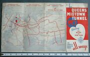 Rare Pre-1940 Queens Midtown Tunnel Opening New York City Nyc 9x16 Map Brochure