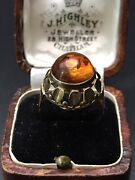 Antique, Art Deco Yellow Gold Amber Cabochon Ring, Size 7