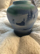 Native American Clay Pottery Handpainted Alaskan Signed Blue /dogs 6 In Tall