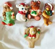 5 Different Vintage Teddy Bear Christmas Ornaments Resin Porcelain Bisque Candle