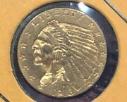 1913 2.50 90 Gold Us Indian Head Quarter Eagle Coin Two And Half Dollar