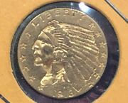 1913 2.50 90 Gold Us Indian Head Quarter Eagle Coin, Two And Half Dollar