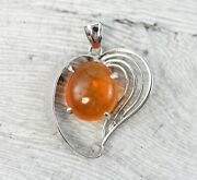 Vintage 14k White Gold Mexican Fire Opal Heart Pendant Filigree High End Luxury