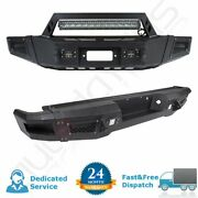 Black Complete Front+rear Bumper Guard For Ford F 150 09-14 Steel+winch Solid