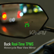 Black Mirrors Buck Built-in Tire Pressure Monitoring Tpms For Motorcycle Scooter