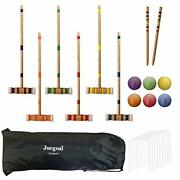Wooden Mallets Colored Balls Sturdy Bag For Adults Andkids Perfect For Backyard