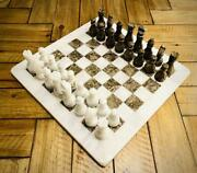 Vintage Handmade Marble Chess Board 15 Adult Chess Game Oceanic Grey Chess Set