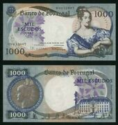 19 May 1967 Portugal 1000 Escudos Banknote Queen Maria Ii P 172a Extremely Fine