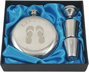Beach Themed 10 Oz Round Flip Flops Flask Gift Set With Two Shot Glasses Durable