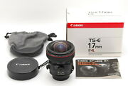 Mint In Box Canon Ts-e 17mm F/4l Wide Angle Tilt Shift Lens From Japan