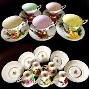 Set Of 5 Vintage 1950s Paragon Andldquofamous Rosesandrdquo Bone China Cups And Saucers