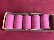 Vtg 100 Pink Paulson Tropicana Casino Las Vegas Roulette Chips Hot Gold Stamp