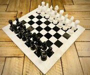 Vintage Handmade Marble Chess Board 15 Adult Chess Game Black White Chess Set