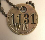 Old Railroad Tool Check Brass Tag Western Maryland Railway W/raised Letters