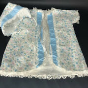 Vintage Baby Doll Flannel Bed Jacket Layette Robe And Matching Bonnet Cap