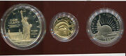Us 1986 3 Pc. Statue Of Liberty Dollar Half And Gold Five Dollar Coins D251 Pf