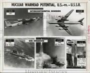 1969 Press Photo U.s. And U.s.s.r. Nuclear Warhead Carrier Planes, Subs, Missiles