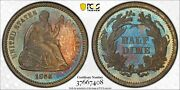 1866 Seated Liberty Half Dime Pcgs Pr 65 Proof Key Date Colorful Toned Beauty