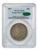 1807 50c Pcgs/cac Xf45 Capped Large Stars 50/20 Scarce Issue - Scarce Issue