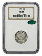 1901 5c Ngc/cac Ms65 - Gem Type Coin - Liberty V Nickel - Gem Type Coin