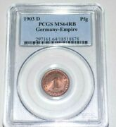 1903d 1p Germany Pfennig Germany Empire Pcgs Ms64rb Ms64 Certified Graded Coin