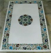 30x60 Inch Marble Dining Table Top Floral Pattern Conference Table For Office