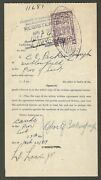 Aop Canada 1919 Receipt For Farm Horses 1 Red And White Cow Saskatchewan Law Stamp
