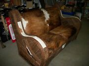 Cowhide Western Sofa Couch/ Cowboy Cabin Cottage 66 Love Seat /fork Art Style