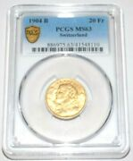 Switzerland Swiss 1904b 20f 20 Francs Gold Ms 63 Pcgs Key Date Certified Coin