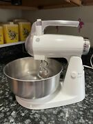 Vintage Ge General Electric Stand Mixer Stainless Steel Bowl And Dough Hooks