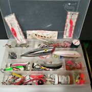 Fishing Tackle Box Full Lots Of Salmon Trout Bass Lures Jigs Grubs Bobbers See